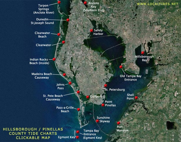 Hillsborough County / Pinellas County Tide Charts - Clickable Map