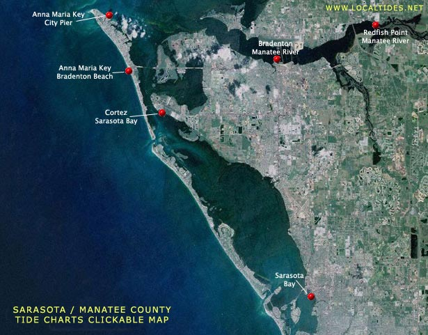 Sarasota County / Manatee County Tide Charts - Clickable Map